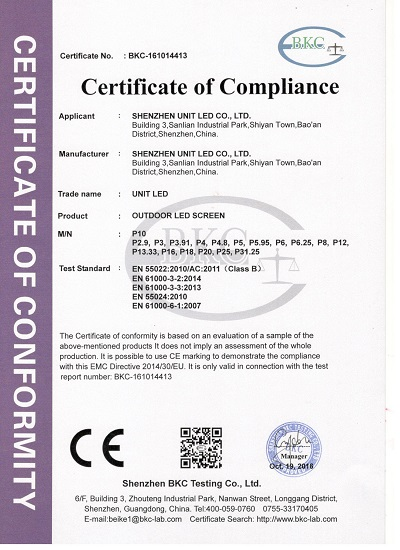 Unit LED display Quality Certification
